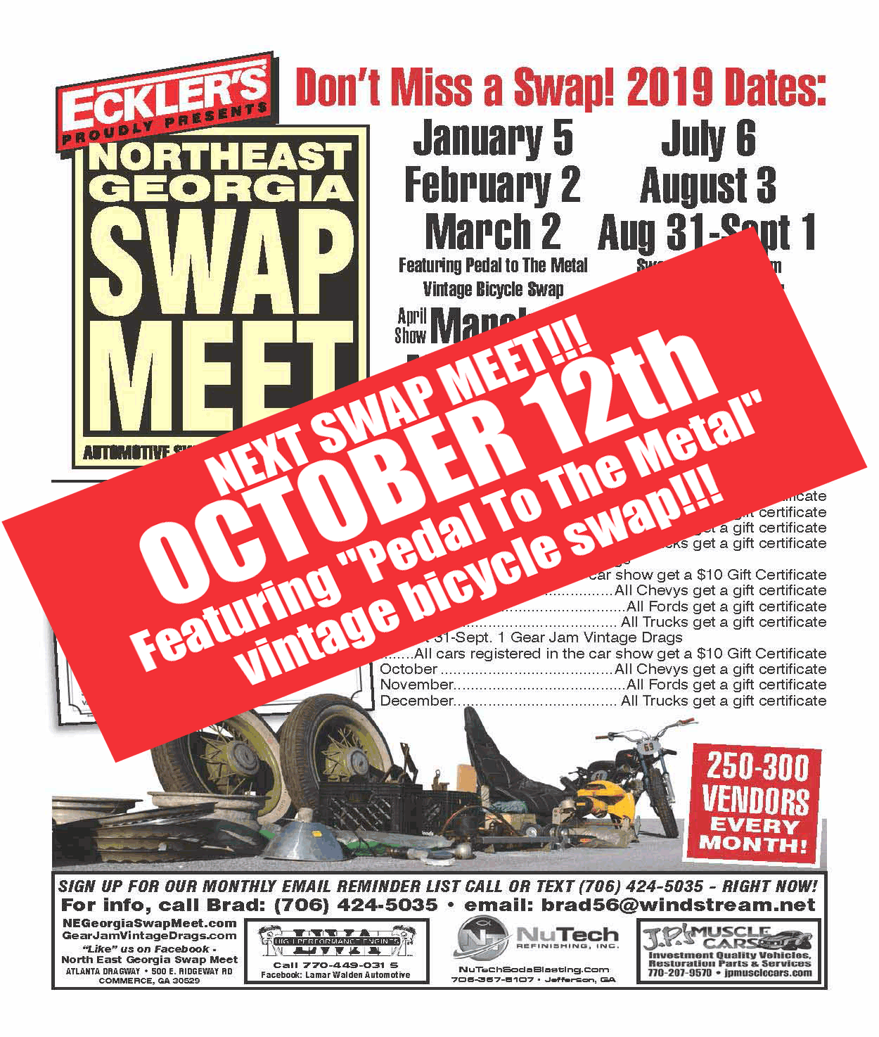 http://negeorgiaswapmeet.com/wp-content/uploads/2019/09/NEGSM-2019-Schedule-Flyer-Featuring-Pedal-To-The-Metal-vintage-bicycle-swap.png